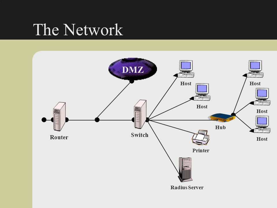 The Network DMZ Switch Router Host Host Host Host Hub Host Printer