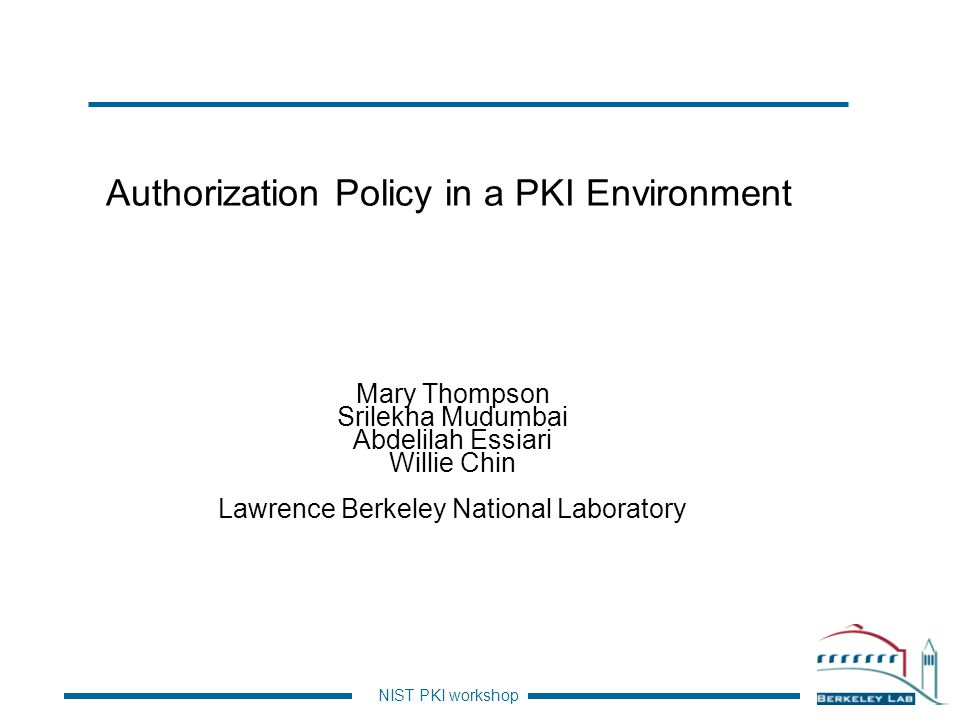 Authorization Policy in a PKI Environment