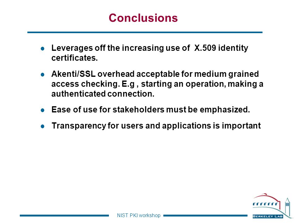 Conclusions Leverages off the increasing use of X.509 identity certificates.