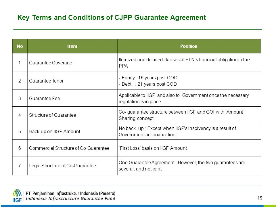 Key Terms and Conditions of CJPP Guarantee Agreement