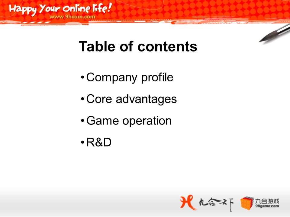 Table of contents Company profile Core advantages Game operation R&D 2