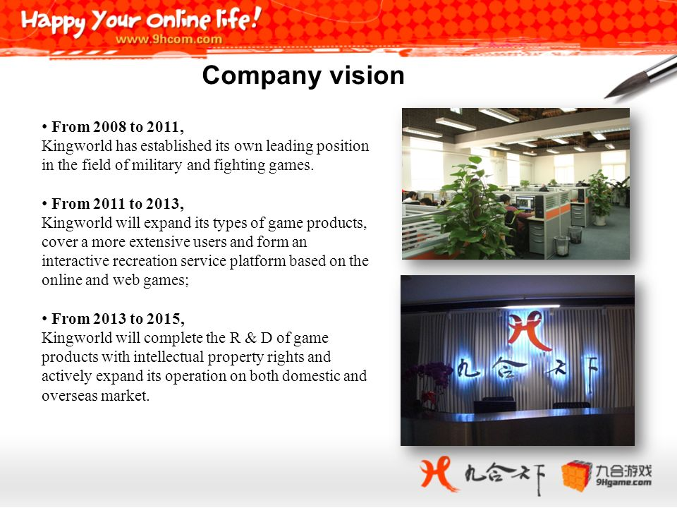 Company vision From 2008 to 2011, Kingworld has established its own leading position in the field of military and fighting games.