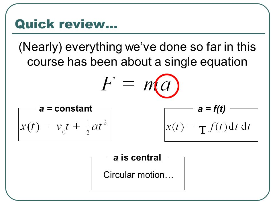 Quick review… (Nearly) everything we've done so far in this course has been about a single equation.