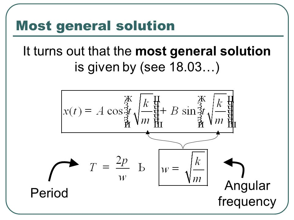 It turns out that the most general solution is given by (see 18.03…)