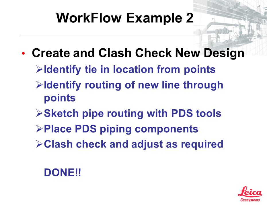 WorkFlow Example 2 Create and Clash Check New Design