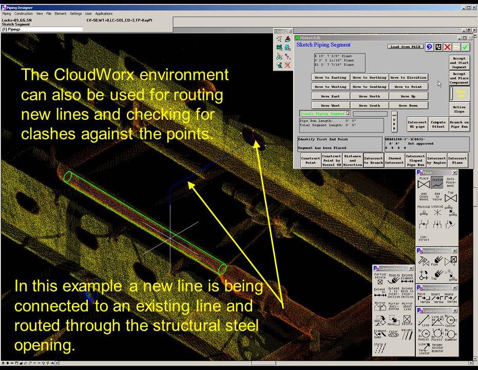 The CloudWorx environment can also be used for routing new lines and checking for clashes against the points.