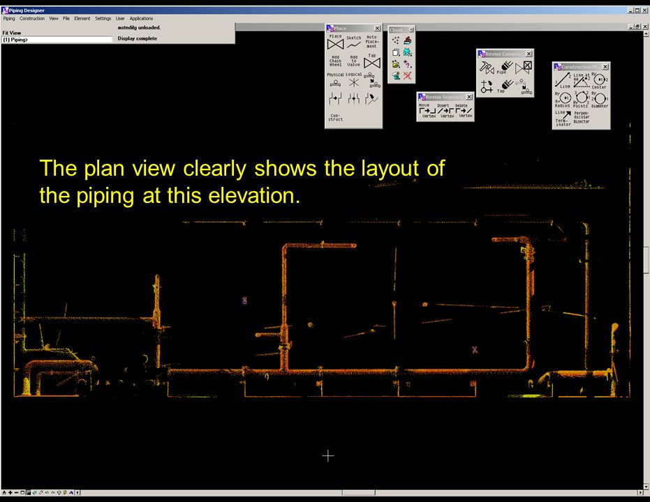 The plan view clearly shows the layout of the piping at this elevation.