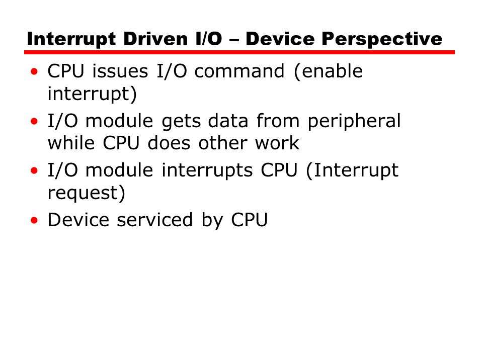 Interrupt Driven I/O – Device Perspective