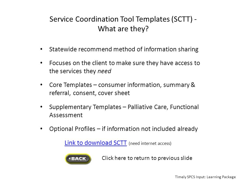 Service Coordination Tool Templates (SCTT) - What are they
