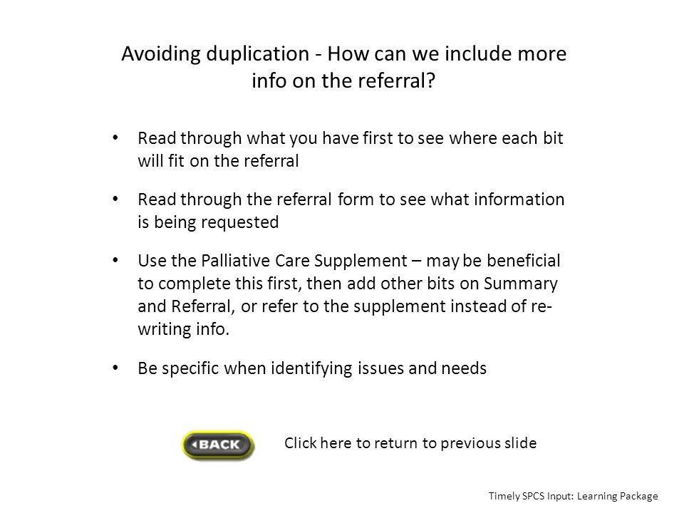 Avoiding duplication - How can we include more info on the referral