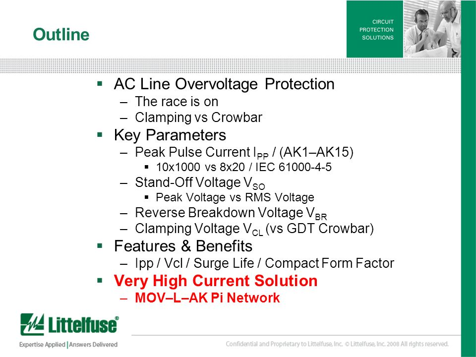 Outline AC Line Overvoltage Protection Key Parameters