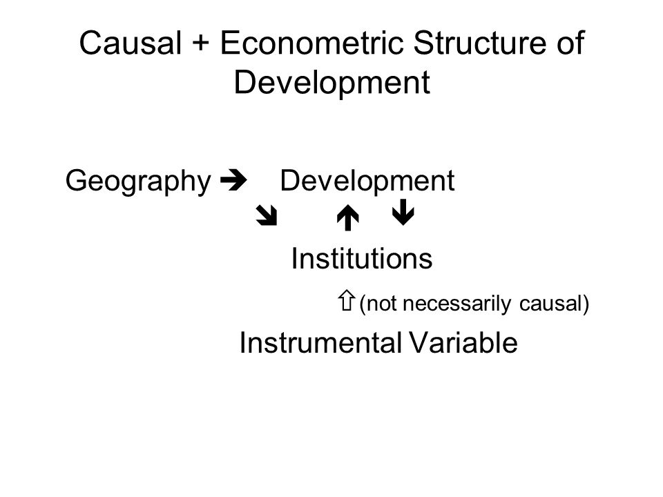 Causal + Econometric Structure of Development