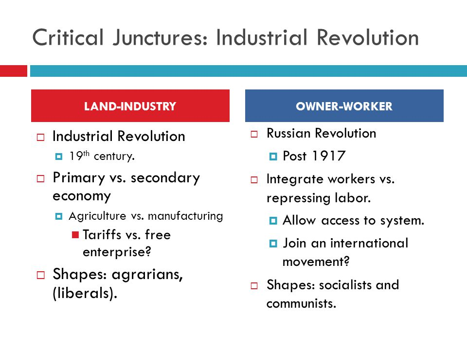 Critical Junctures: Industrial Revolution