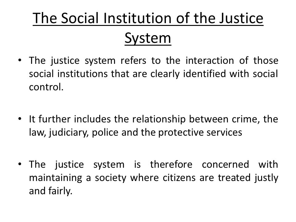 The Social Institution of the Justice System