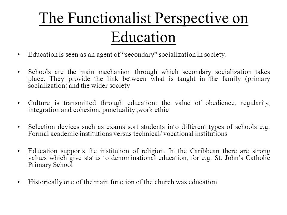 The Functionalist Perspective on Education