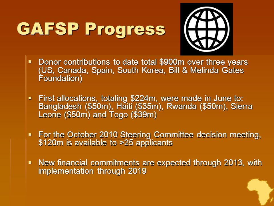 GAFSP Progress Donor contributions to date total $900m over three years (US, Canada, Spain, South Korea, Bill & Melinda Gates Foundation)