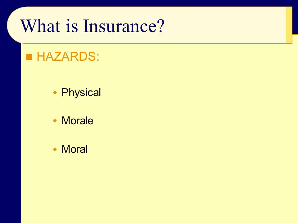 What is Insurance HAZARDS: Physical Morale Moral