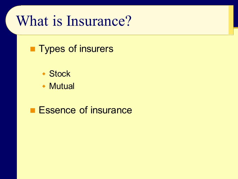 What is Insurance Types of insurers Stock Mutual Essence of insurance