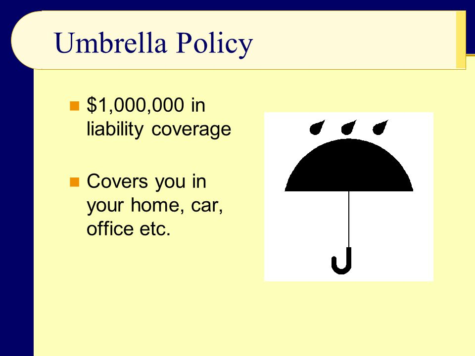 Umbrella Policy $1,000,000 in liability coverage