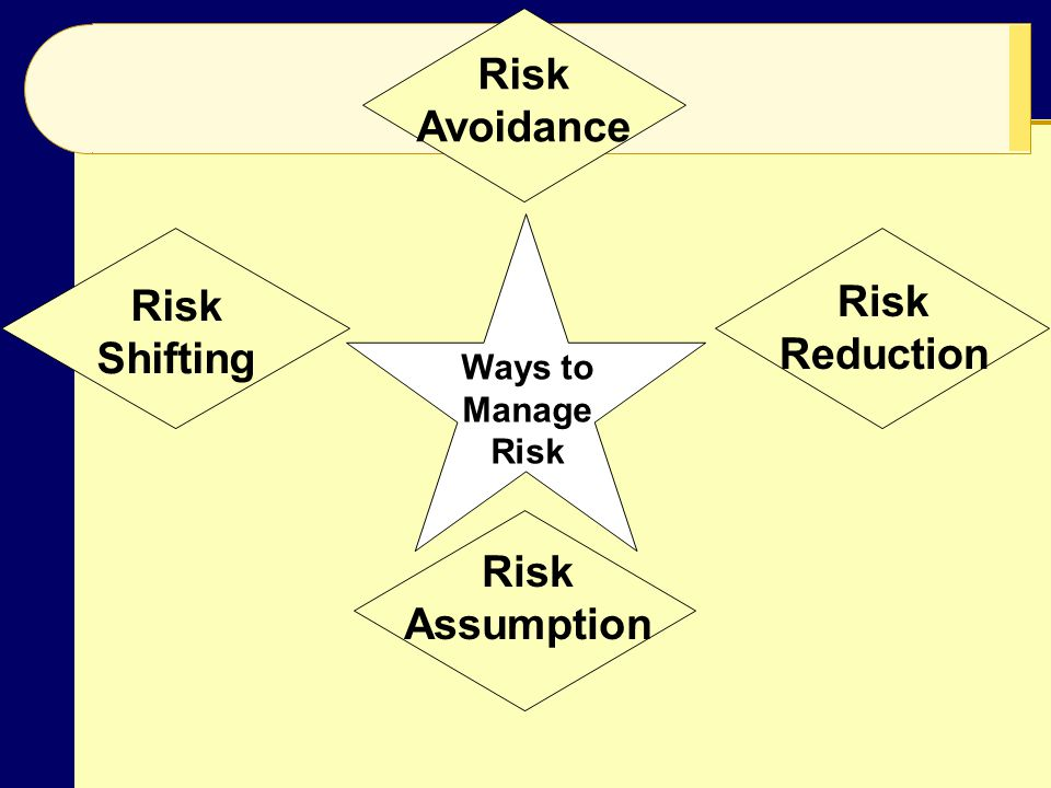 Risk Avoidance Risk Shifting Risk Assumption Risk Reduction