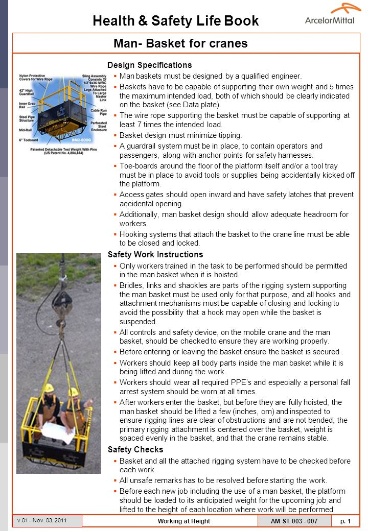 Man- Basket for cranes Design Specifications Safety Work Instructions