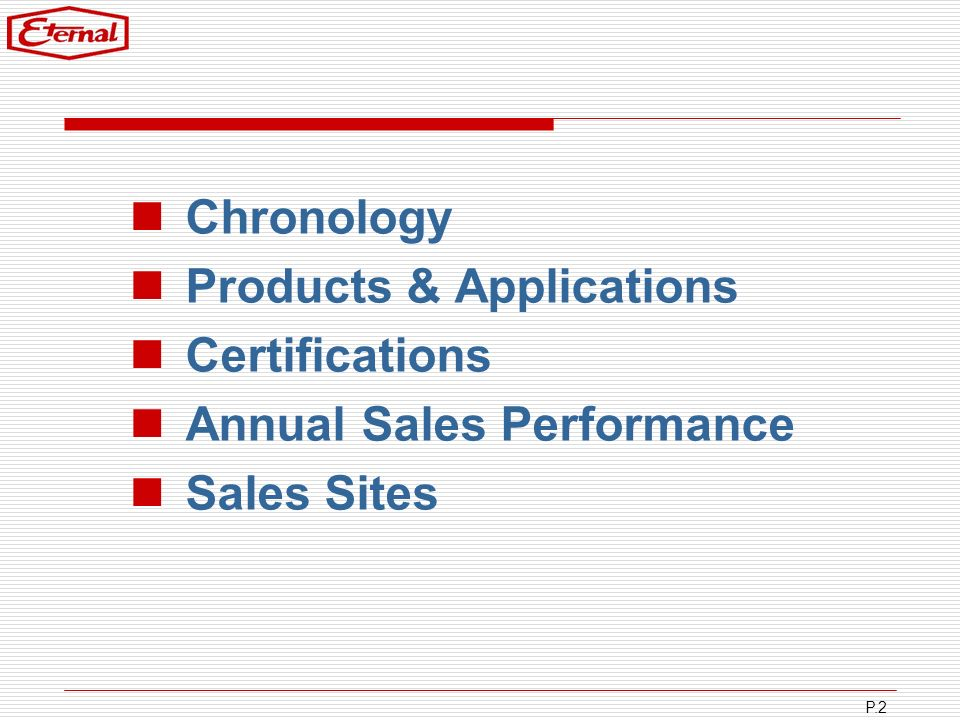 Chronology Products & Applications Certifications Annual Sales Performance Sales Sites