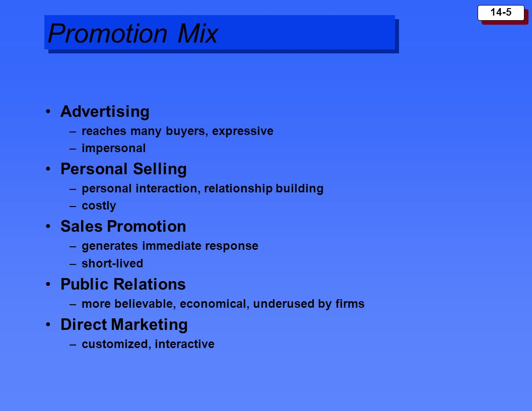 Promotion Mix Advertising Personal Selling Sales Promotion