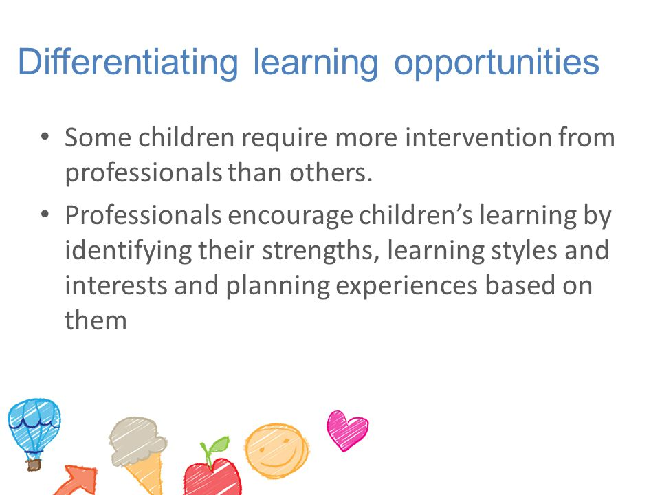 Differentiating learning opportunities