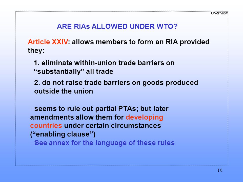 ARE RIAs ALLOWED UNDER WTO