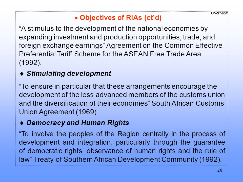  Objectives of RIAs (ct'd)