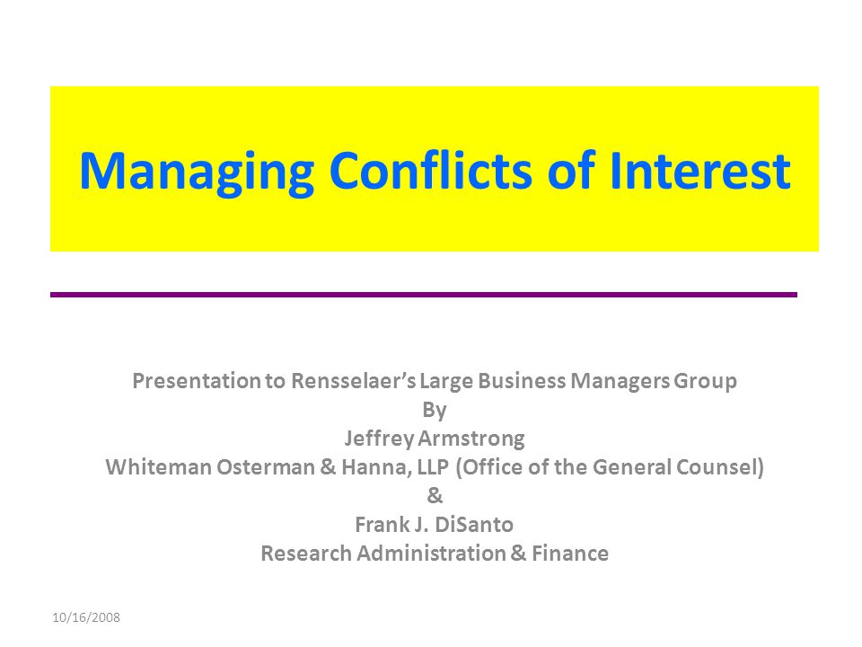 Managing Conflicts of Interest