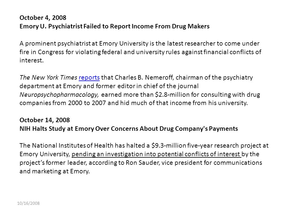 Emory U. Psychiatrist Failed to Report Income From Drug Makers