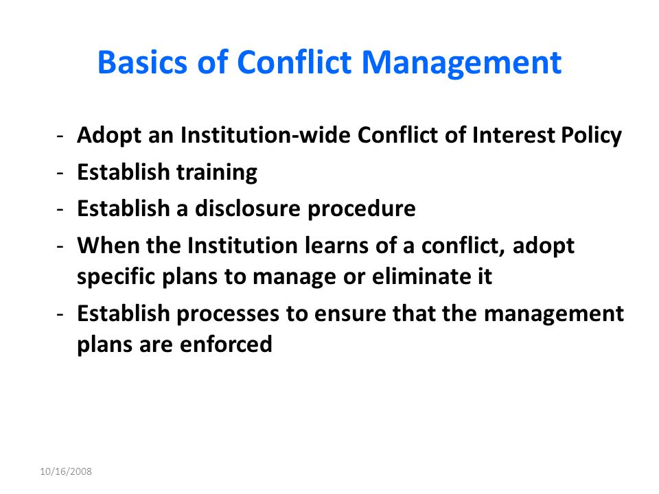 Basics of Conflict Management