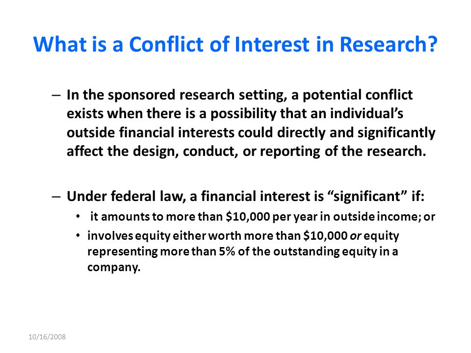 What is a Conflict of Interest in Research