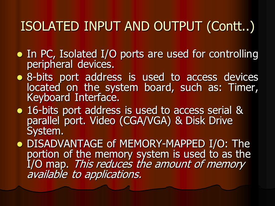 ISOLATED INPUT AND OUTPUT (Contt..)
