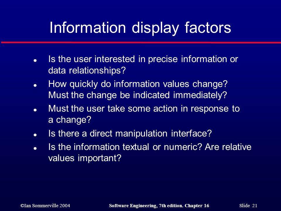 Information display factors