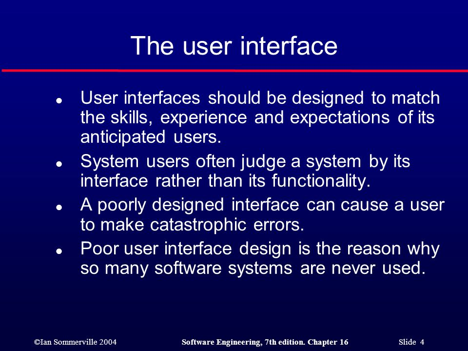The user interface User interfaces should be designed to match the skills, experience and expectations of its anticipated users.