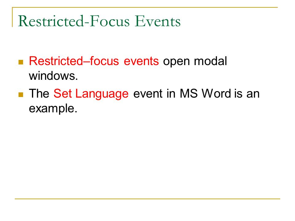Restricted-Focus Events