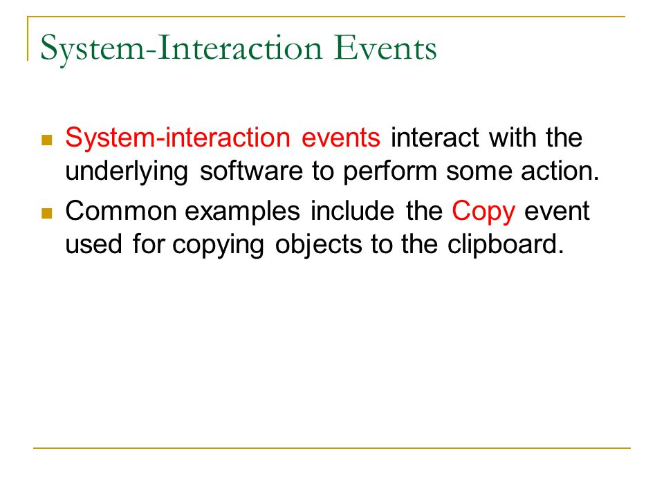 System-Interaction Events