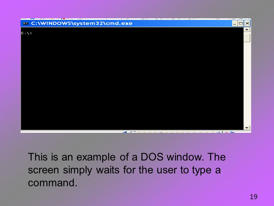This is an example of a DOS window