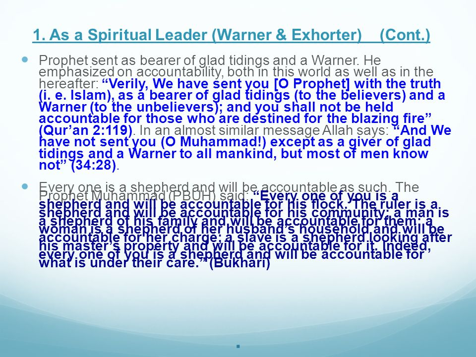 . 1. As a Spiritual Leader (Warner & Exhorter) (Cont.)