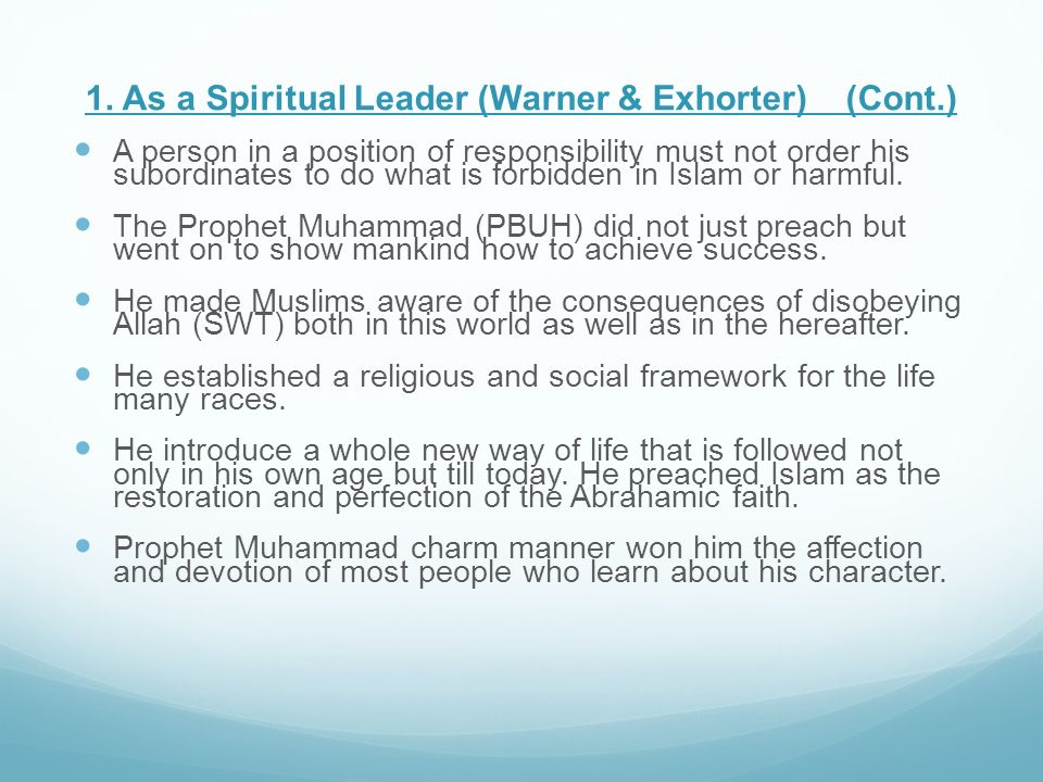 1. As a Spiritual Leader (Warner & Exhorter) (Cont.)
