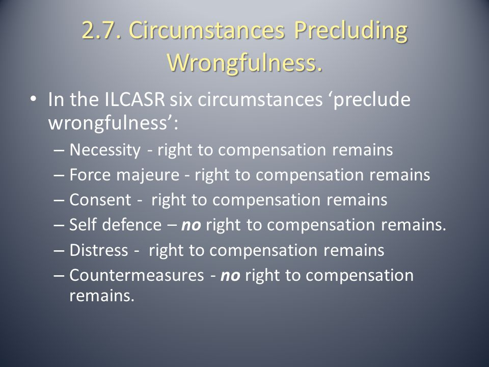 2.7. Circumstances Precluding Wrongfulness.