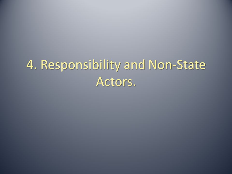 4. Responsibility and Non-State Actors.