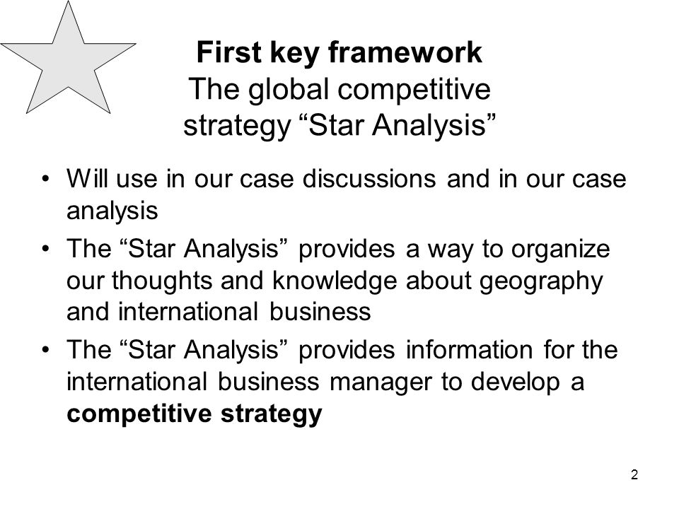 First key framework The global competitive strategy Star Analysis