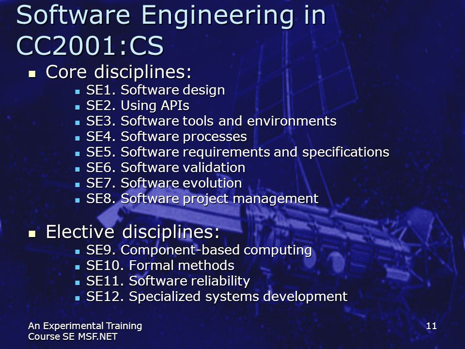 Software Engineering in СС2001:CS