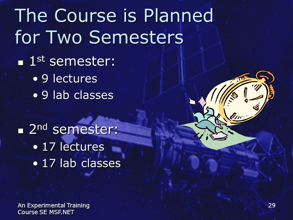 The Course is Planned for Two Semesters