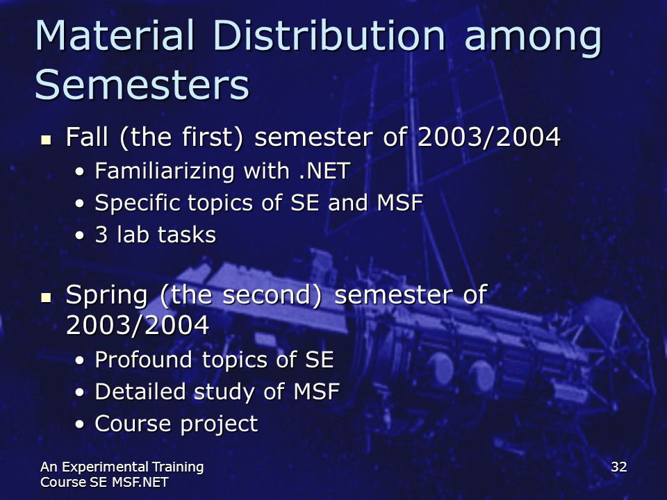 Material Distribution among Semesters