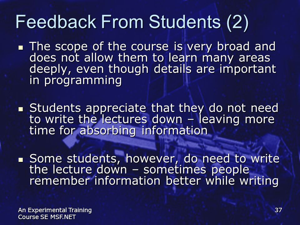 Feedback From Students (2)