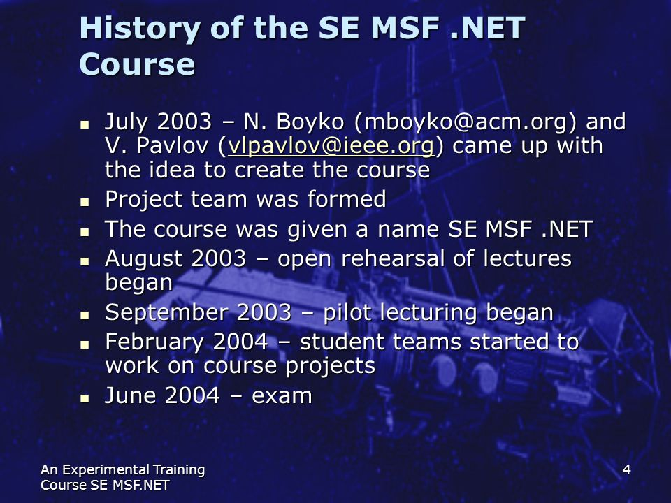 History of the SE MSF .NET Course